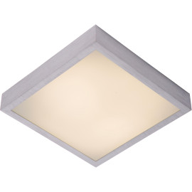 Plafonnier moderne carré aluminium chromé & acrylique LED L28 cm Salva