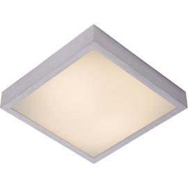 Plafonnier moderne carré aluminium chromé & acrylique LED L36 cm Salva