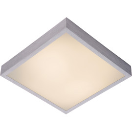 Plafonnier moderne carré aluminium chromé & acrylique LED L42 cm Salva