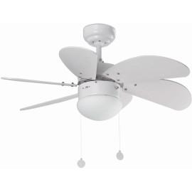 Ventilateur de plafond lumineux acier et bois blanc Ø81 cm Sanz