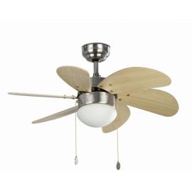 Ventilateur de plafond lumineux acier et bois clair Ø81 cm Sanz