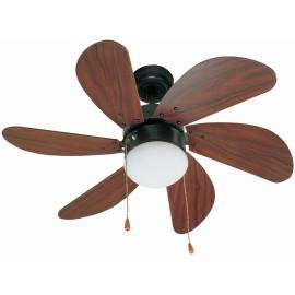 Ventilateur de plafond lumineux acier noir et bois foncé Ø81 cm Sanz