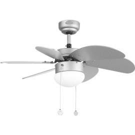 Ventilateur de plafond lumineux acier et bois gris Ø81 cm Sanz