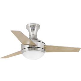 Ventilateur de plafond lumineux acier et bois gris Ø101,5 cm Salva