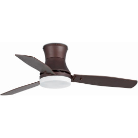 Ventilateur de plafond lumineux acier et bois marron Ø132 cm Teller