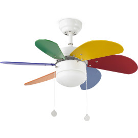 Ventilateur de plafond lumineux acier et bois multicolore Ø81 cm Sanz