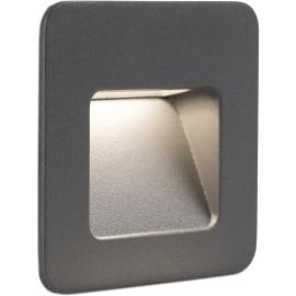 Spot carré encastrable extérieur moderne aluminium gris foncé Unaï