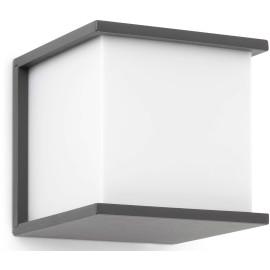 Applique moderne d'extérieur en aluminium gris et PVC blanc Vania