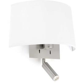 Applique moderne en métal et tissu blanc avec liseuse LED Louise