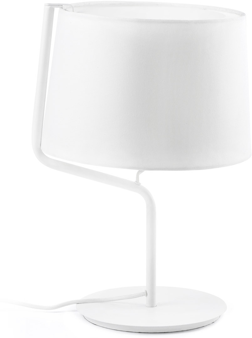 Lampe de chevet moderne blanche en métal et tissu Camille