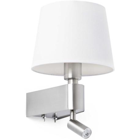 Applique moderne en métal chromé et tissu blanc avec liseuse LED Chloé