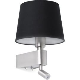 Applique moderne en métal chromé et tissu noir avec liseuse LED Chloé