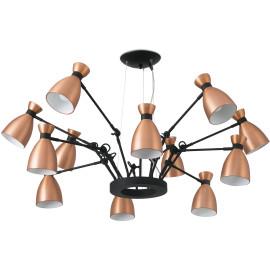Suspension design en métal cuivré 12 lampes Mathilde