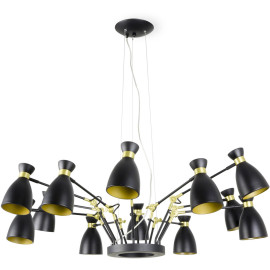 Suspension design en métal noir et or satiné 12 lampes Mathilde
