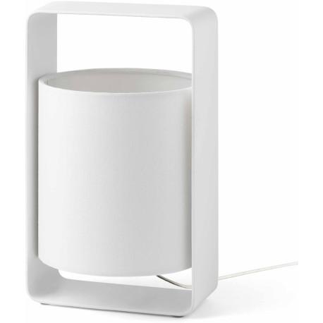 Lampe de table design en métal et tissu blanc Lea