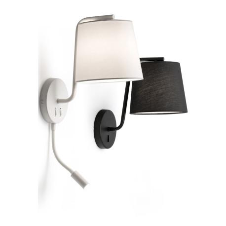 Applique moderne en métal et tissu blanc avec liseuse LED Camille
