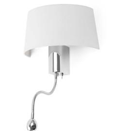 Applique moderne en métal chromé et tissu blanc avec liseuse LED Eva