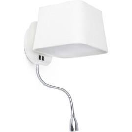Applique moderne en métal et tissu blanc avec liseuse LED Clara