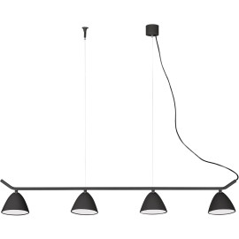 Lustre design en aluminium noir 4 spots LED Charlotte