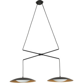 Lustre moderne en métal noir et or 2 lampes Ø40 cm Marie