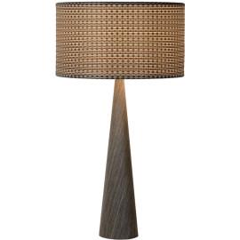 Lampe de table moderne en bois plaqué gris Venise