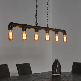 Lustre industriel en métal noir 6 lampes Clémence