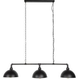 Lustre industriel en métal noir 3 lampes Pauline