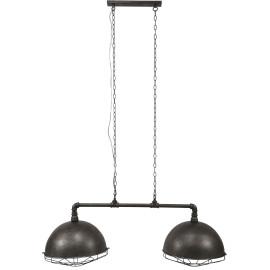 Lustre industriel en métal gris 2 x Ø 40 cm Zoé