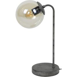 Lampe de table vintage sphère en métal noir et verre Noemie