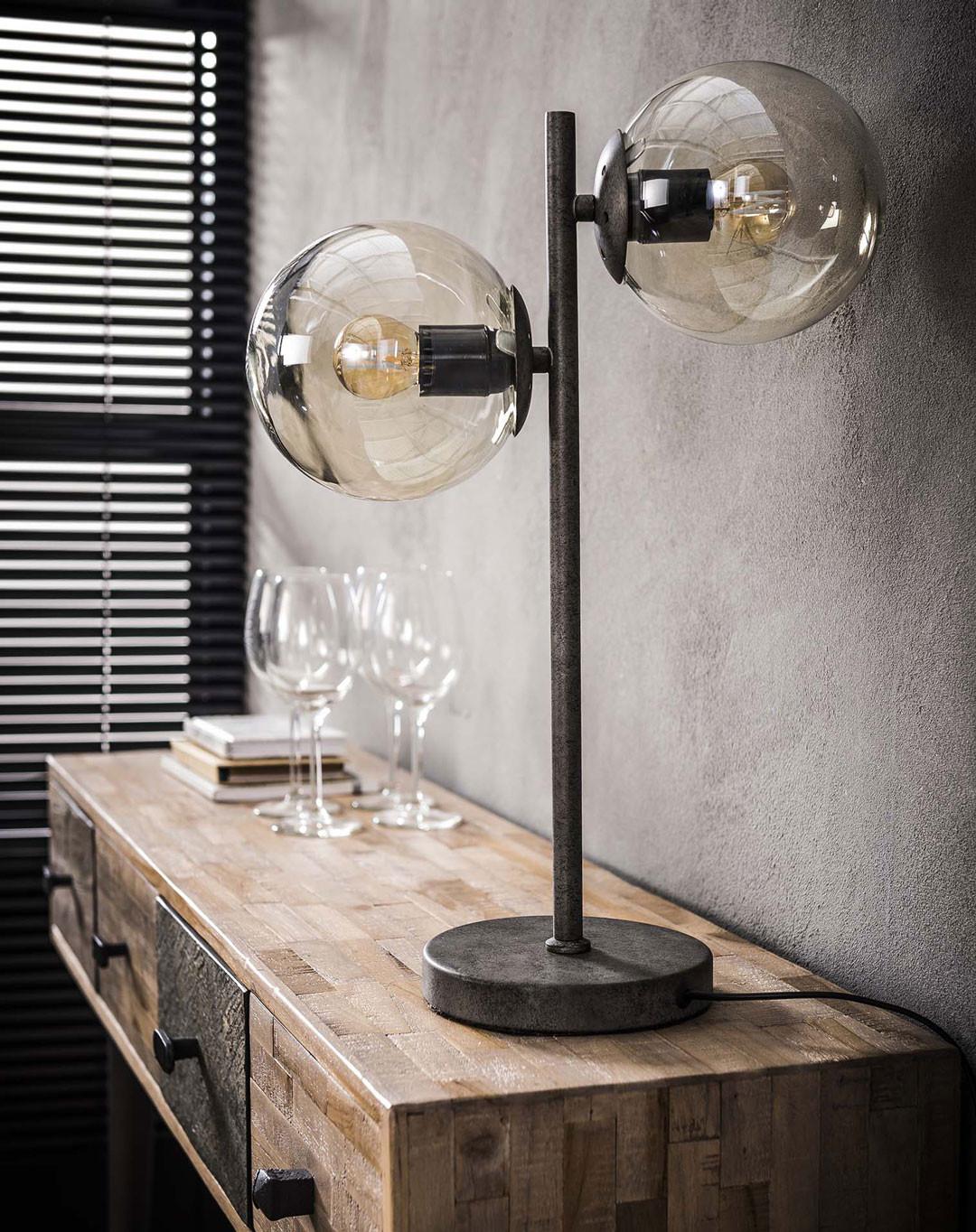 De Verre Noir Métal 2 Et Sphères Lampe En Table Noemie Vintage MSVqUzp