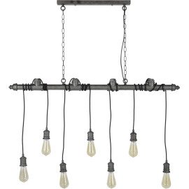 Suspension industrielle en métal gris ancien 7 ampoules Heloïse