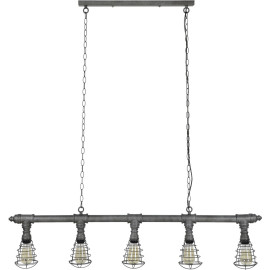 Suspension industrielle en métal gris ancien 5 lampes Marion