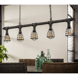 Suspension industrielle en métal gris ancien 5 lampes Marion