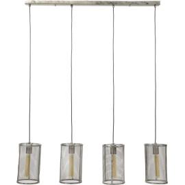 Lustre vintage en métal gris 4 lampes Manon