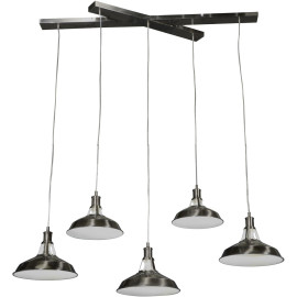 Suspension moderne en métal chromé 5 lampes Alicia