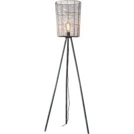 Lampadaire rustique en bois et métal gris Elsa