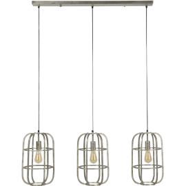 Suspension moderne en métal gris clair 3 lampes Blanche