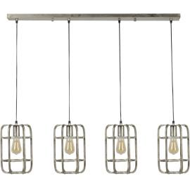 Suspension moderne en métal gris clair 4 lampes Blanche