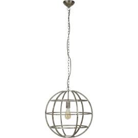 Suspension vintage sphère en métal gris clair Faustine