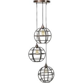 Suspension vintage en métal cuivré 3 globes Julia