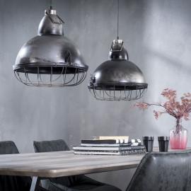 Suspension industrielle en métal gris foncé 2 lampes Claire