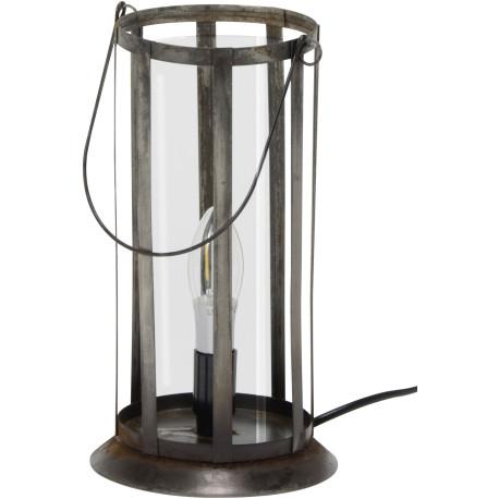 Lampe de table vintage en métal gris ancien Lily
