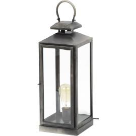 Lampe de table vintage en métal gris ancien Eleonore