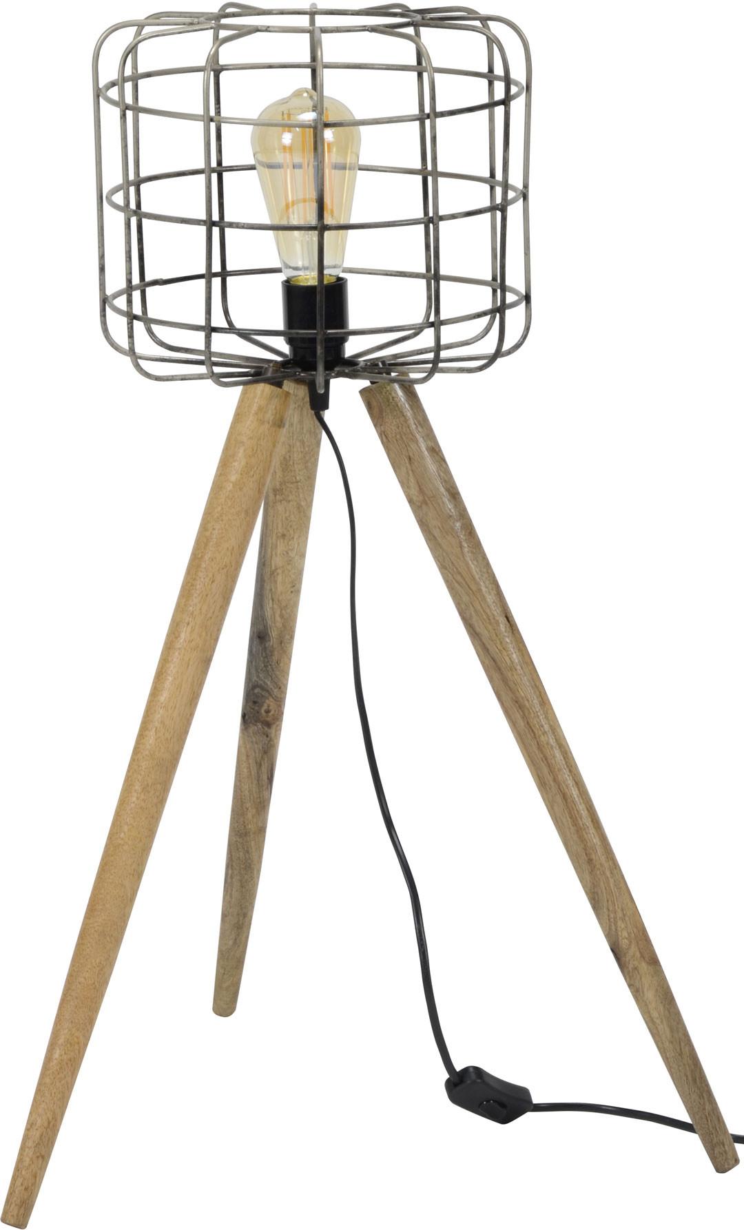 lampadaire vintage sur tr pied en bois roxane. Black Bedroom Furniture Sets. Home Design Ideas