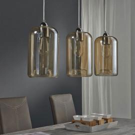 Suspension moderne en verre ambré 3 lampes Ø 18 cm Elise