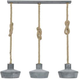 Suspension industrielle en métal gris 3 lampes Ø 28 cm Olivia