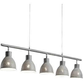 Lustre industriel en métal gris 5 lampes Imane