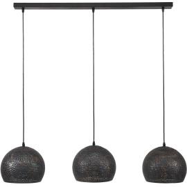 Suspension industrielle en métal noir 3 boules Ø 25 cm Naomi