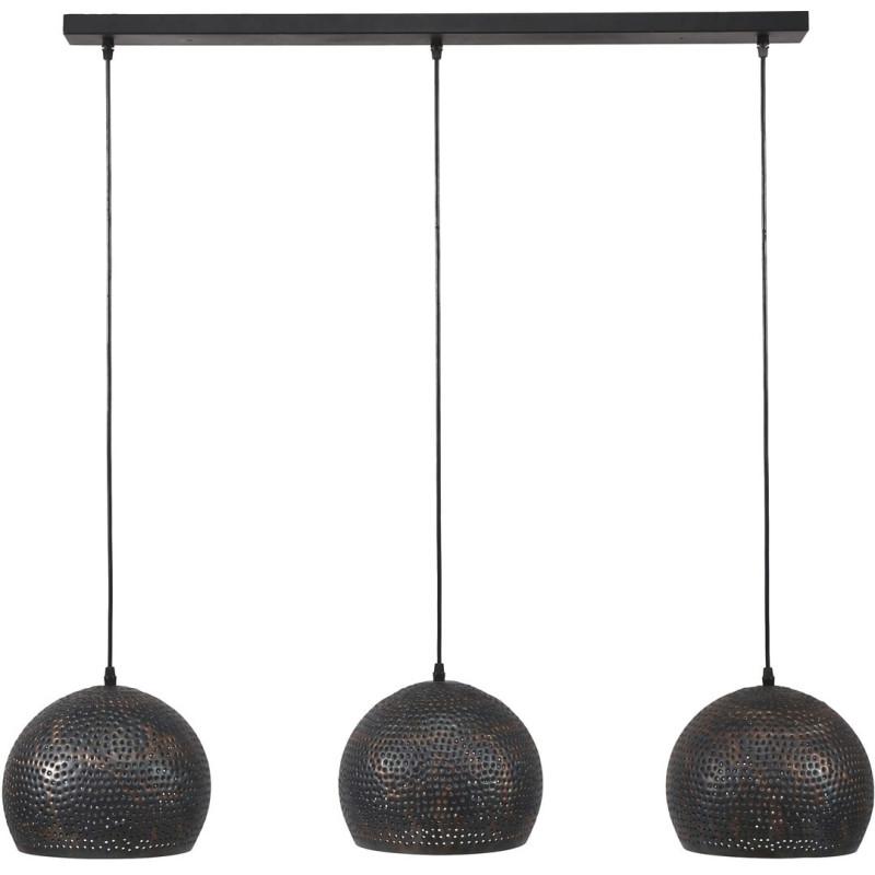 suspension industrielle en m tal noir 3 boules 25 cm naomi. Black Bedroom Furniture Sets. Home Design Ideas