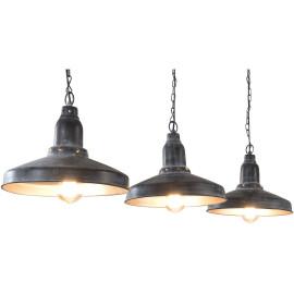 Lustre industriel en métal gris 3 lampes Romane